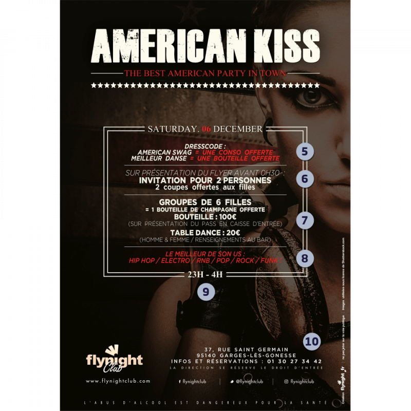 American Kiss : Get Ready !   Flyer designed by Flynight